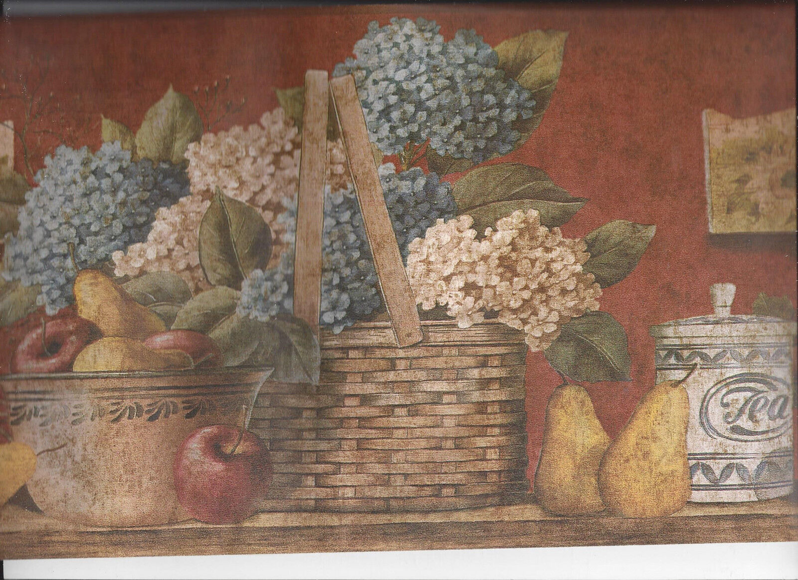 Merveilleux 1 Of 4 Kitchen Basket Fruit Flowers Pottery Wallpaper Border Country Home  Apple Red 2 Of 4 Kitchen ...