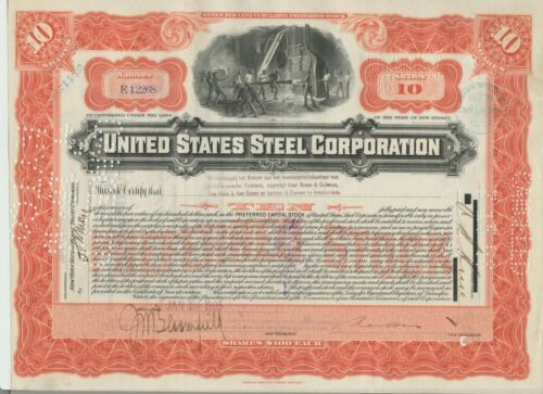 1904 United States Steel Corporation Stock Certificate Foreign Stamp US