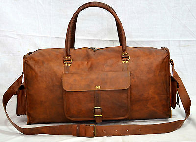 New Men's duffel genuine Leather large vintage  travel gym Squre Lightwieght bag