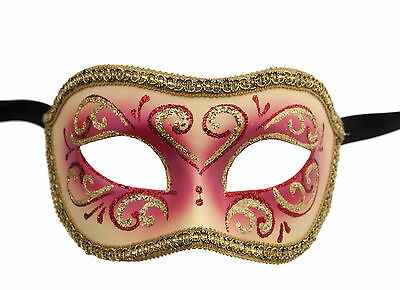Mask Venice Colombine or Civet Red and Gold for Fancy Dress 684