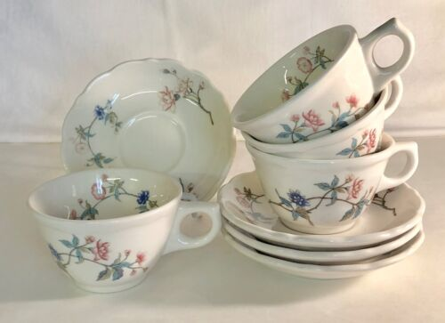 4 Syracuse Summerdale Restaurant Ware Cups And Saucers