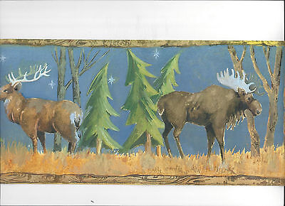 WALLPAPER BORDER MOOLIGHT ELK BEAR DEER IN WOODS NEW ARRIVAL WILD ANIMALS TREES