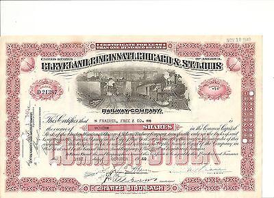 1940S Cleveland  Cincinnati  Chicago   St  Louis Railroad Stock Certificate