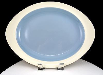 "WEDGWOOD SUMMER SKY BLUE & WHITE RIMMED 12 7/8"" OVAL SERVING PLATTER 1957-1972"