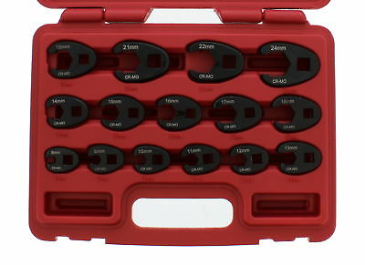 ABN Jumbo Crowfoot Flare Nut Wrench Metric Set 3/8 & 1/2 Drive Ratchet, 15 Piece