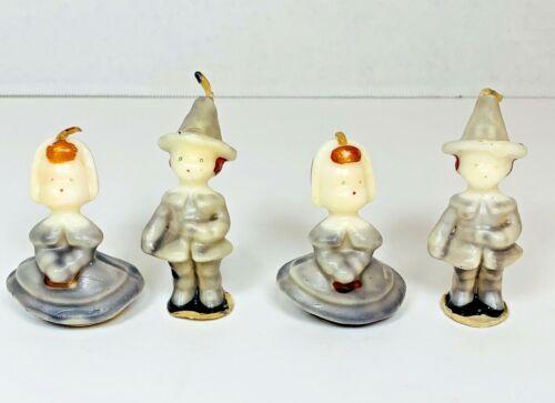 4 Vintage Puritan Pilgrim Boys Girls Thanksgiving Tavern Novelty Candles Socony