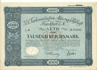 Aufgepasst! 1 Aktie der IG Farben AG von 1926, 1000 RM, Nr. 345005