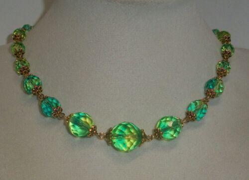 """Czech Blue/Green & Yellow uranium glass bead choker necklace. vaseline 15 3/4"""""""
