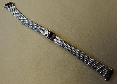 Mesh Old Stock NOS Vintage Ladies Stainless Steel 10-12mm Reg to Long Watch -