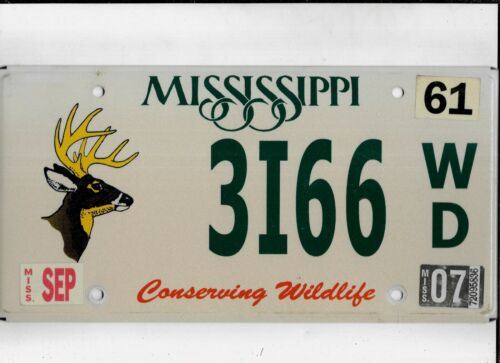 "MISSISSIPPI 2007 license plate ""3I66"" ***CONSERVING WILDLIFE***"