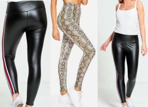New Women Snake Animal Print Legging Pants Party Out Wetlook Stripe Soft Stretch