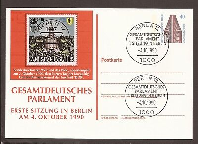 Germany 1990 Berlin prepaid postcard and stamp. Commemorative franking.