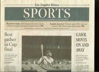 LA Times 100th Anniversary Babe Ruth in MLB, Sports Section with Feature 3 pg  for sale  Shipping to Canada