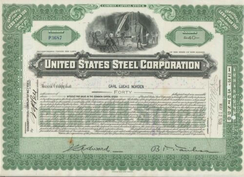 United States Steel Corporation Stock Certificate US Green