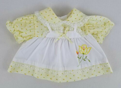 VTG Infant Yellow Floral Print Dress / Faux Apron Embroidery Applique / 0-6 mo
