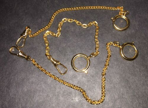 """POCKET WATCH SPORT CHAINS 7½"""", GOLD TONED, CLASP RING & CLIP, 3 LINK STYLES, NOS"""