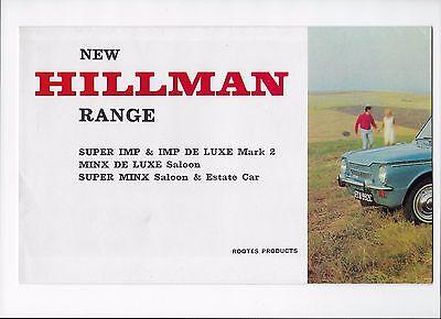 1966 Hillman car brochure: Hillman Imp de luxe, Super Imp, Minx & Super Minx