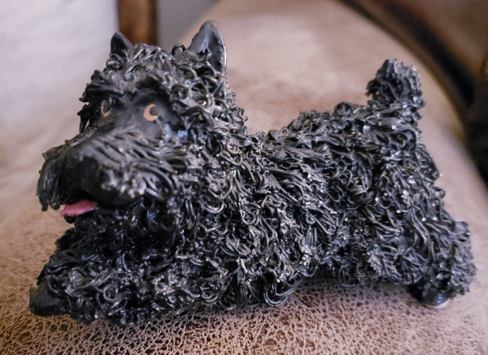 Vintage Spaghetti Noodle Schnauzer Dog Figurine Black/Grey...Excellent ...
