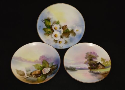 VINTAGE NORITAKE M JAPAN HAND PAINTED PLATES SET OF 3 MINT