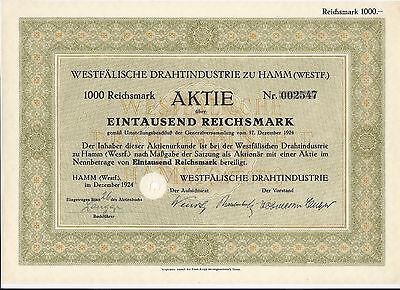 Westfälische Drahtindustrei zu Hamm 1000 Reichsmark 1924