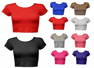 Womens-Crop-Top-Ladies-Short-Sleeve-Stretch-Vest-T-Shirt-Tee-Sizes-S-M-M-L