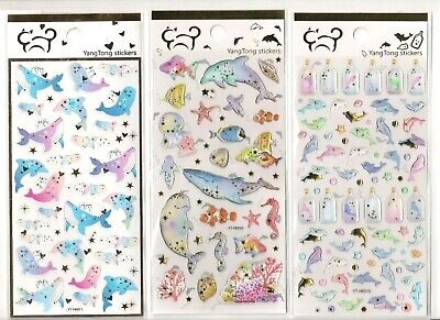 Jellies Embellishments - Ocean Whale Dolphin Starfish Coral Sea Jelly Crystal stickers