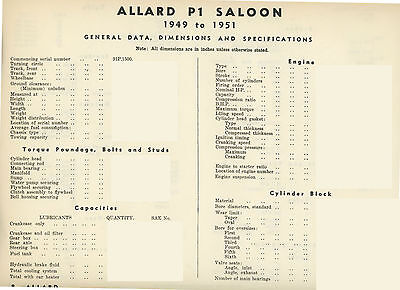 Allard J2 / Ardun and P1 Data sheets - 14 pages