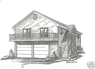 28 x 36 2 Car Garage Edifice Plans w/ 2nd Floor Open Loft Area & Exterior Stair