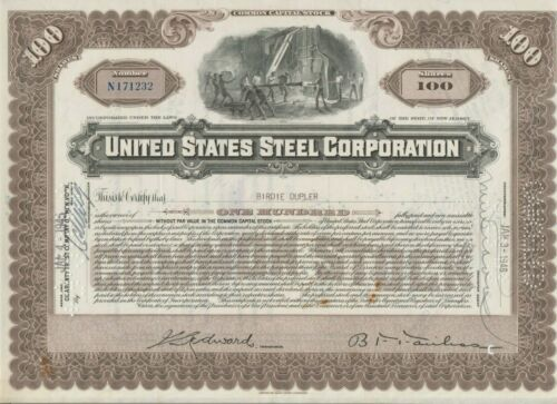 United States Steel Corporation Stock Certificate US Tan
