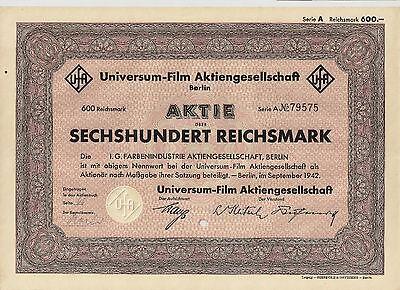 UfA Universum Film AG Berlin RM 600 Aktie 1942 Babelsberg Bertelsmann RTL Kino