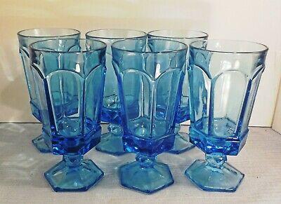 Fostoria Virginia light blue iced tea water goblets lot of 6 Light Blue Iced Tea