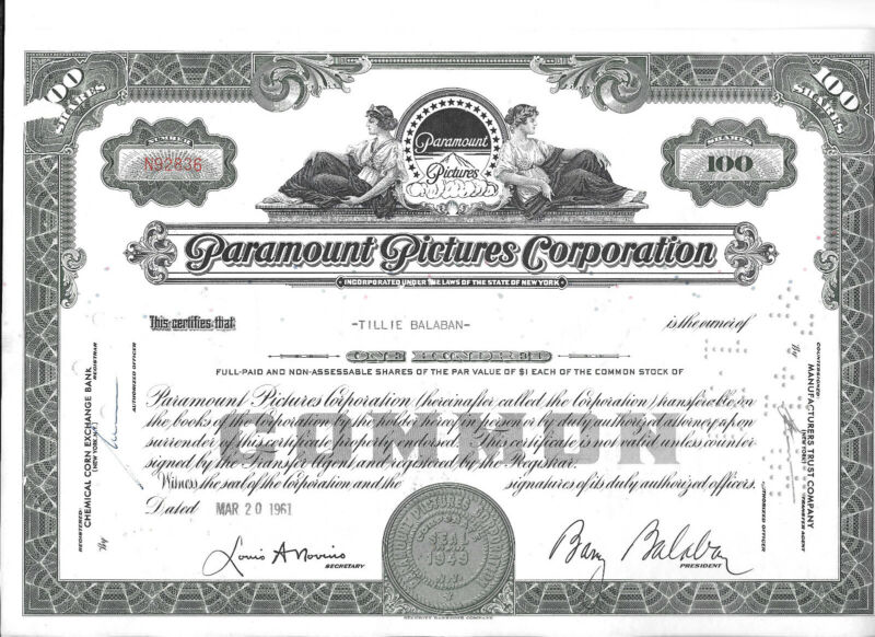 2 Paramount Pictures Corporation Stock Certificates