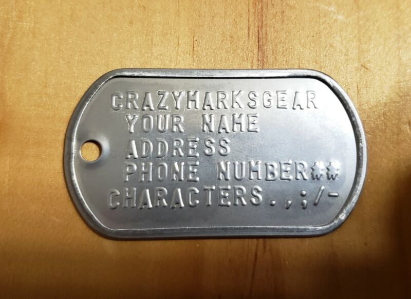 CUSTOM Embossed  ONE DOG TAG NOT TAGS USA STAINLESS STEEL by Veteran