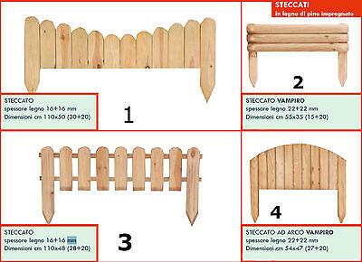 Staccionata steccato bordure recinzione in pino autoclavato vari modelli