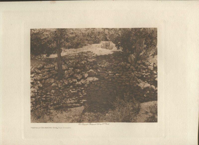 1925 Original Photogravure | Kiva Old Cochiti |  Edward Curtis | 5 1/2 x 7 1/2