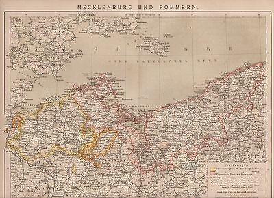 Mecklenburg Vorpommern Pommern LANDKARTE von 1885 Rügen Strelitz Bornholm Darß