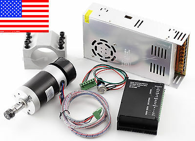 Cnc 0.4kw Brushless Spindle Motor Er11 Mach3 Pwm Controller Mount 480w Psu