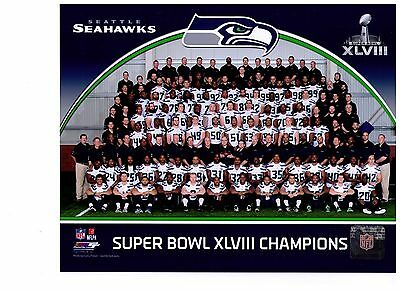 Seattle Seahawks Super Bowl XLVIII Champions Authentic 8x10 Color Team Photo NFL - Super Bowl Team Colors