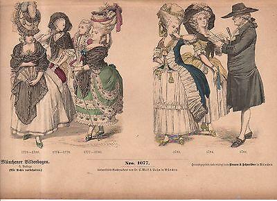 1880 Chromo Fashion print of late 1700's French visitation toilettes for court