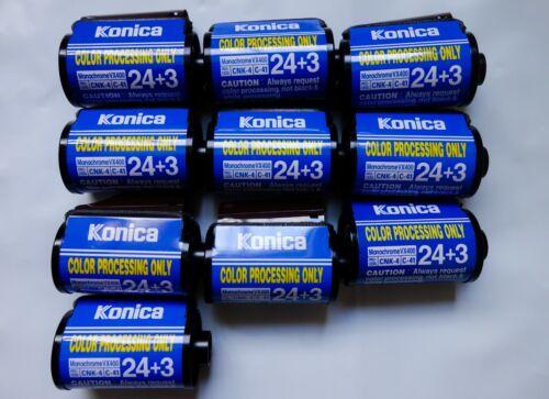 10 Rolls of Konica VX400 Monochrome 35mm C-41 Film