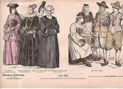 Chromo Fashion print of 1700's Switzerland Farmer, wives and noblewomen