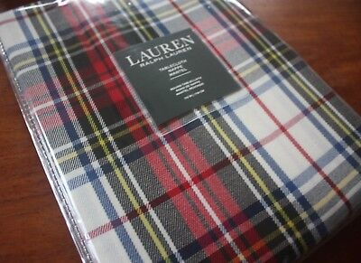 Ralph Lauren ~ Gretchen Tartan Plaid Ivory ~ Tablecloth ~ Royal & Red 70
