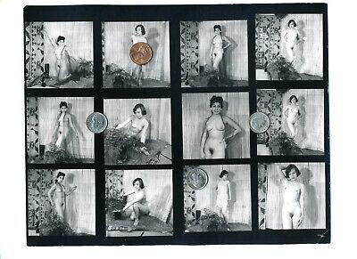 Vintage 1950's B/W Exotica 2-TIKI MOTIF MODELS 120 Format Contact Proof PHOTO