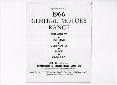 1966 Chevrolet, Pontiac, Oldsmobile, Buick, Cadillac leaflet