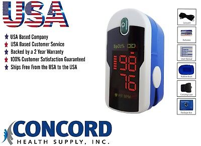 Fingertip Pulse Oximeter With Case Lanyard And Batteries-the Concord Sapphire