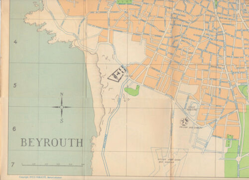 1954 Syco Publicite City Map of Beirut, Lebanon BEYROUTH PLAN Vintage