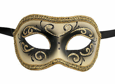 Mask from Venice Colombine or Civet Black and Golden for Fancy Dress 683
