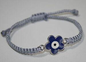 Nazar Boncugu Armband Makramee Handgemacht Blau Silber Grau 21 cm verstellbar