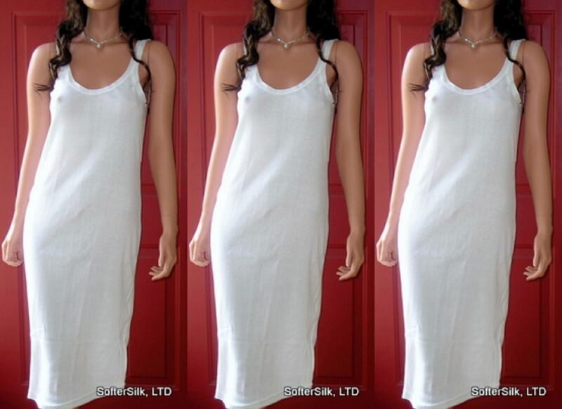 3-Pack 100% Cotton Full-Slip Stretchy Ribbed Knit White NEW 4 sizes S M L XL