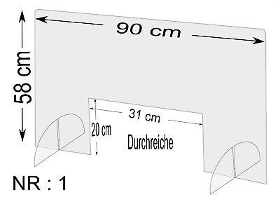 Spuckschutz Nr.1 - Schutzscheibe Breite 90cm,Höhe 58cm, Durchreiche 31x20cm